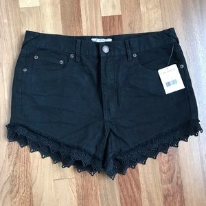 Free People NWT  Black High-Rise Denim Shorts